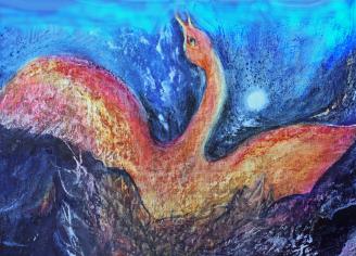 Der Feuervogel, Mischtechnik auf Malplatte/Firebird, mixed media on canvas panel, 40x60, 2011, ©Petra Pawlofky